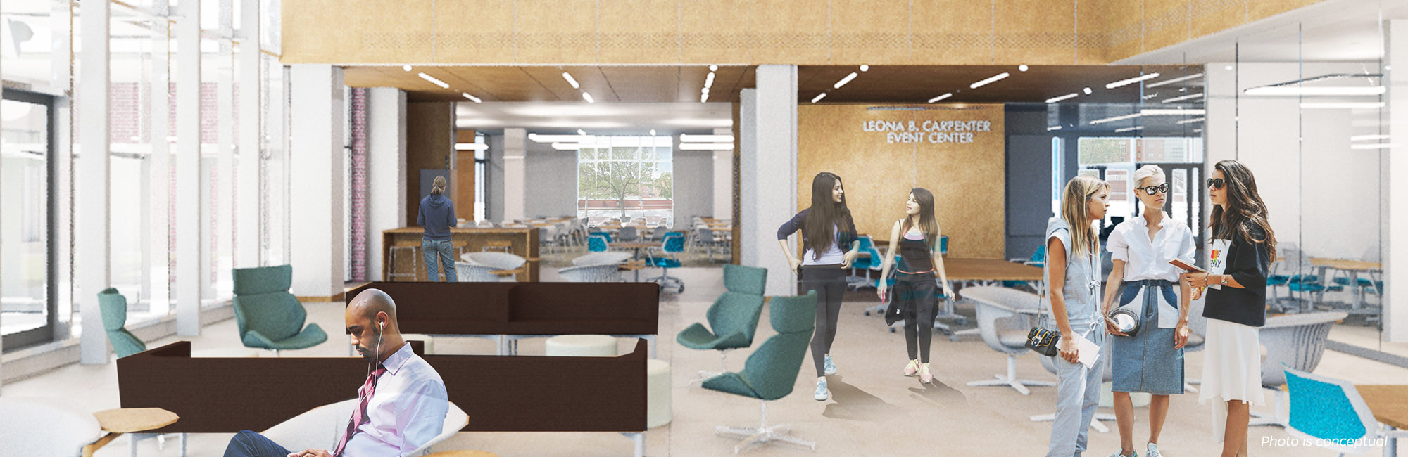 Building plans of a new space at the Johns Hopkins School of Nursing.