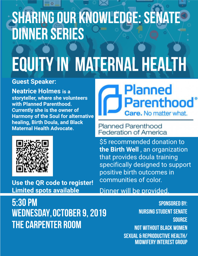 Sharing Our Knowledge: Senate Dinner Series (October- Equity in Maternal Health)